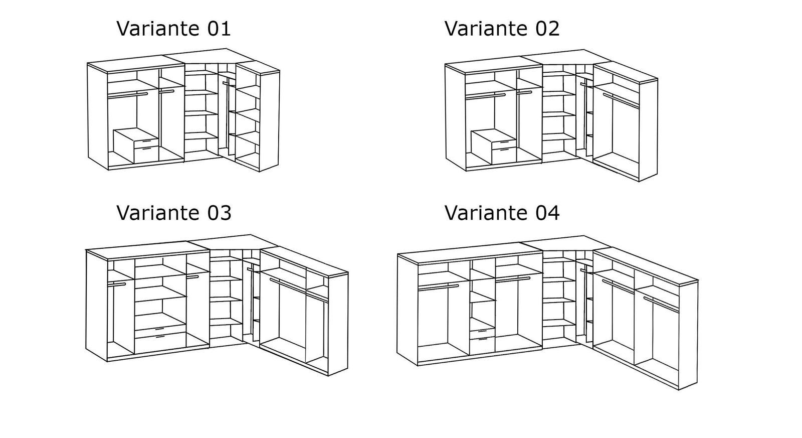Grafik zur Inneneinteilung des Eck-Kleiderschranks Bassiano