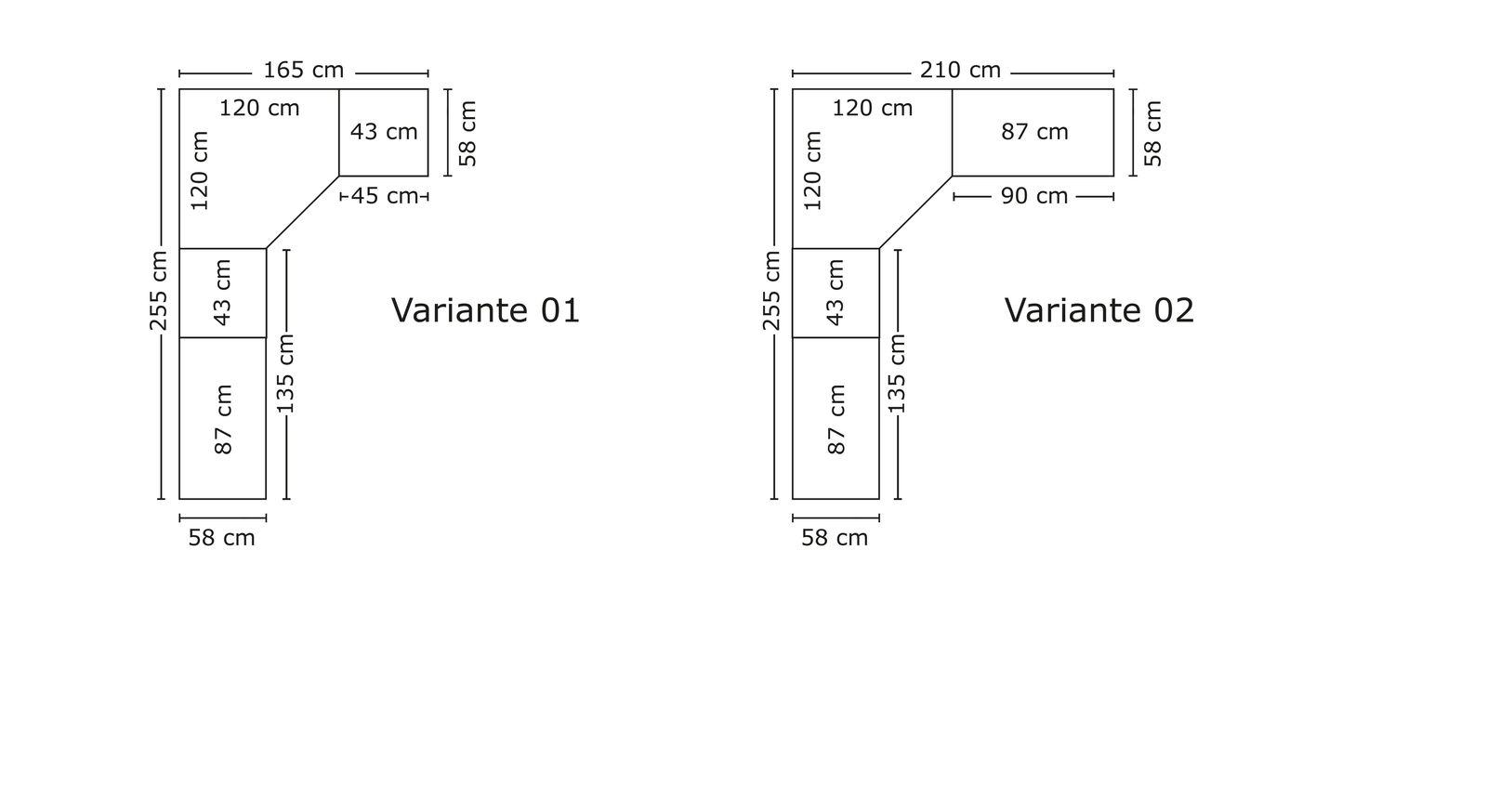 Größenverhältnis der Abschnitte vom Eck-Kleiderschrank Bassiano