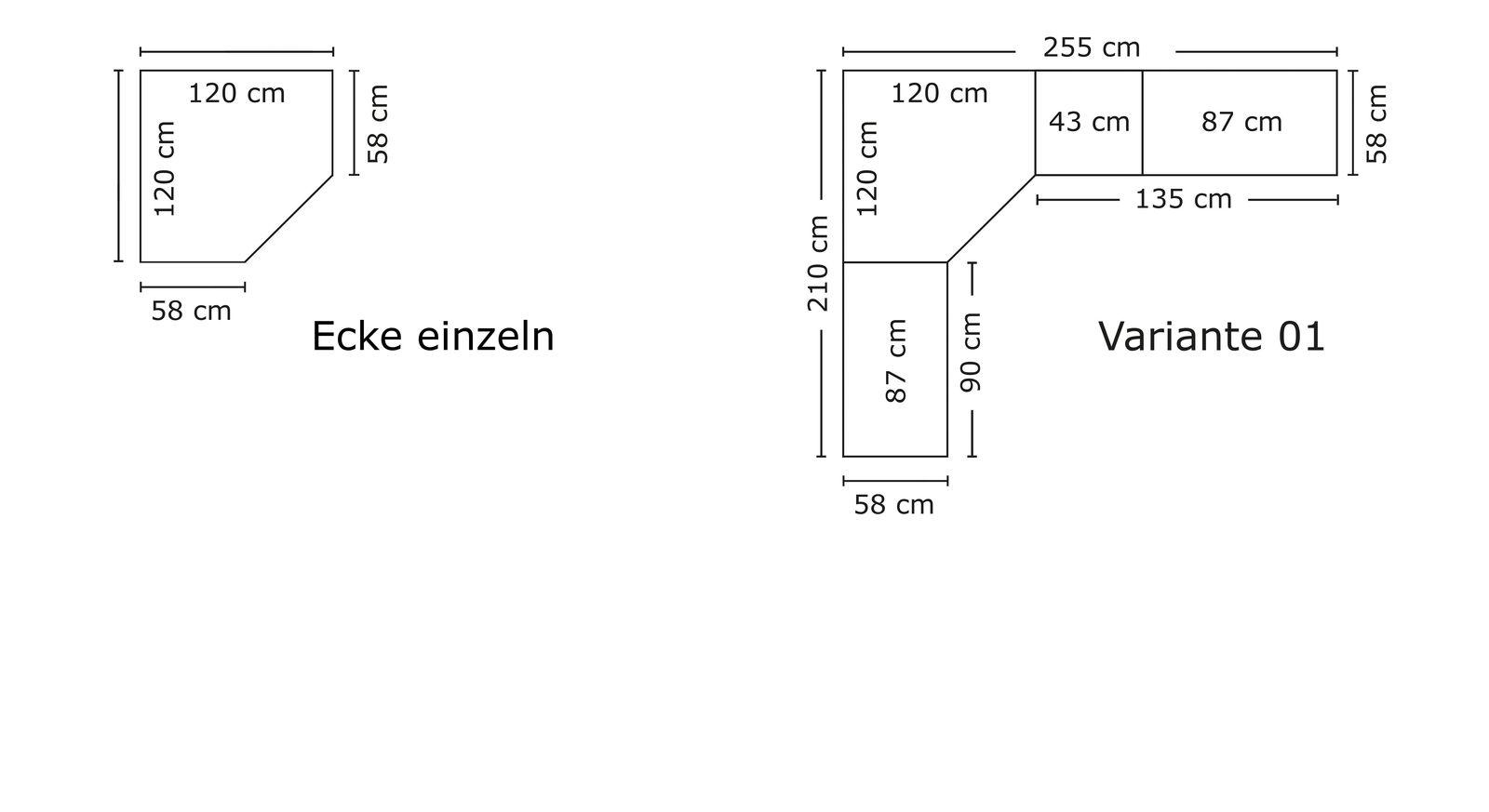 Grafik zur Breitenansicht vom Eck-Kleiderschrank Esperia