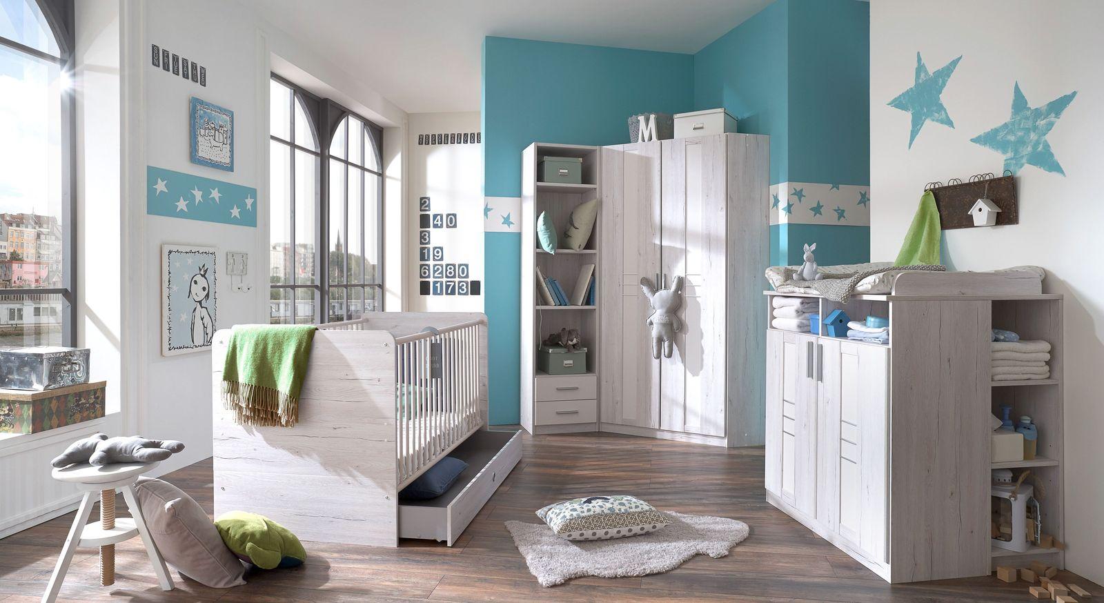 Eck-Kleiderschrank Carlino mit passenden Möbel für Babyzimmer