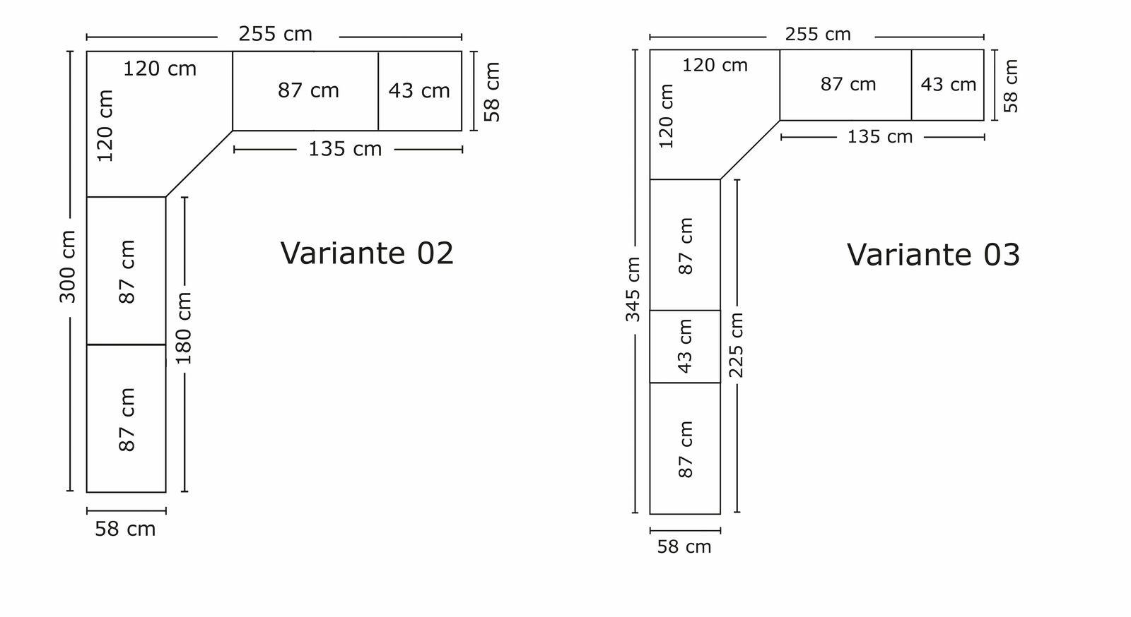 Praktische Bemaßungs-Grafik zum Eck-Kleiderschrank Coreno