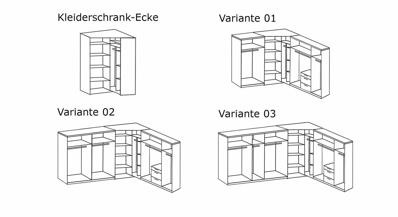 Grafik zur Inneneinteilung vom Eck-Kleiderschrank Coreno