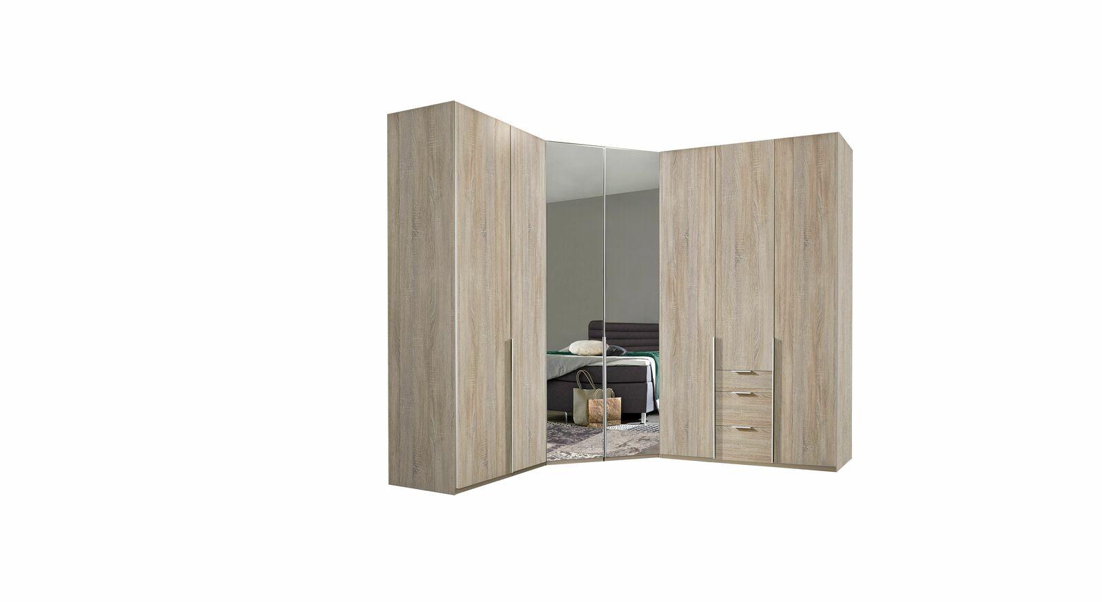 Eck-Kleiderschrank Coreno in zeitlosem Design-Look