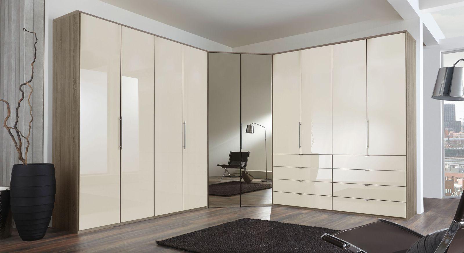 Eck-Kleiderschrank Tiko mit Spiegel- und Glasfront