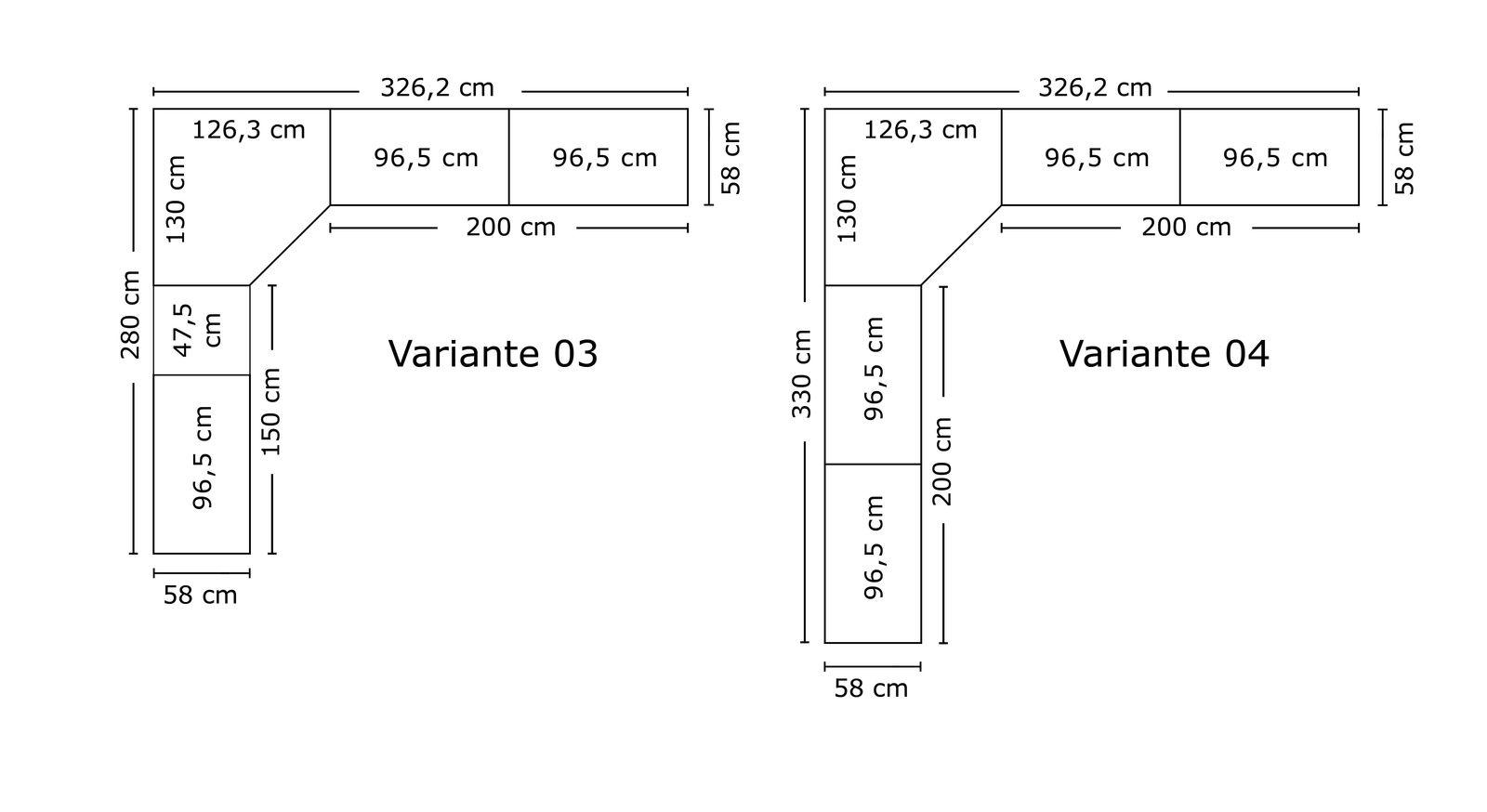 Varianten 3 und 4 des Eck-Kleiderschranks Tiko