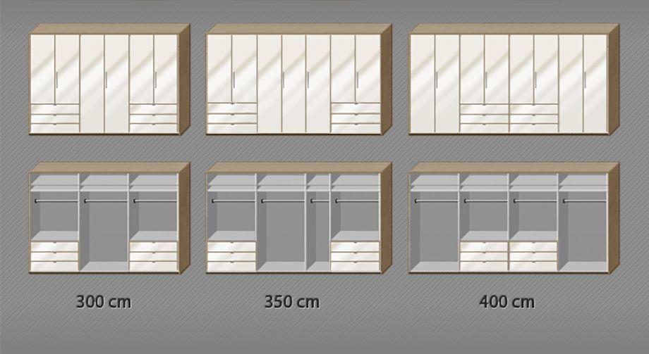 Einteilung der Kleiderstangen und Einlegeböden zum Funktions-Kleiderschrank Tiko