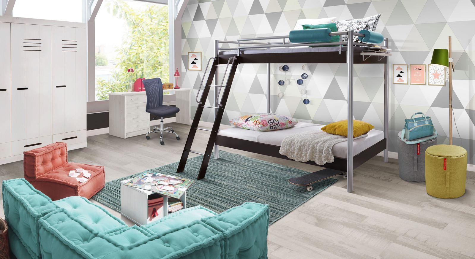 Jugendzimmer komplett mit modernem metall etagenbett finn for Jugendzimmer etagenbett