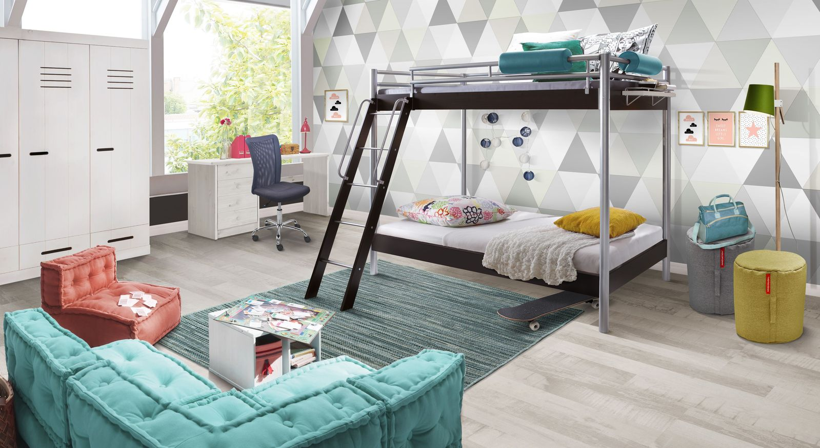Jugendzimmer komplett mit modernem metall etagenbett finn for Jugendzimmer reduziert