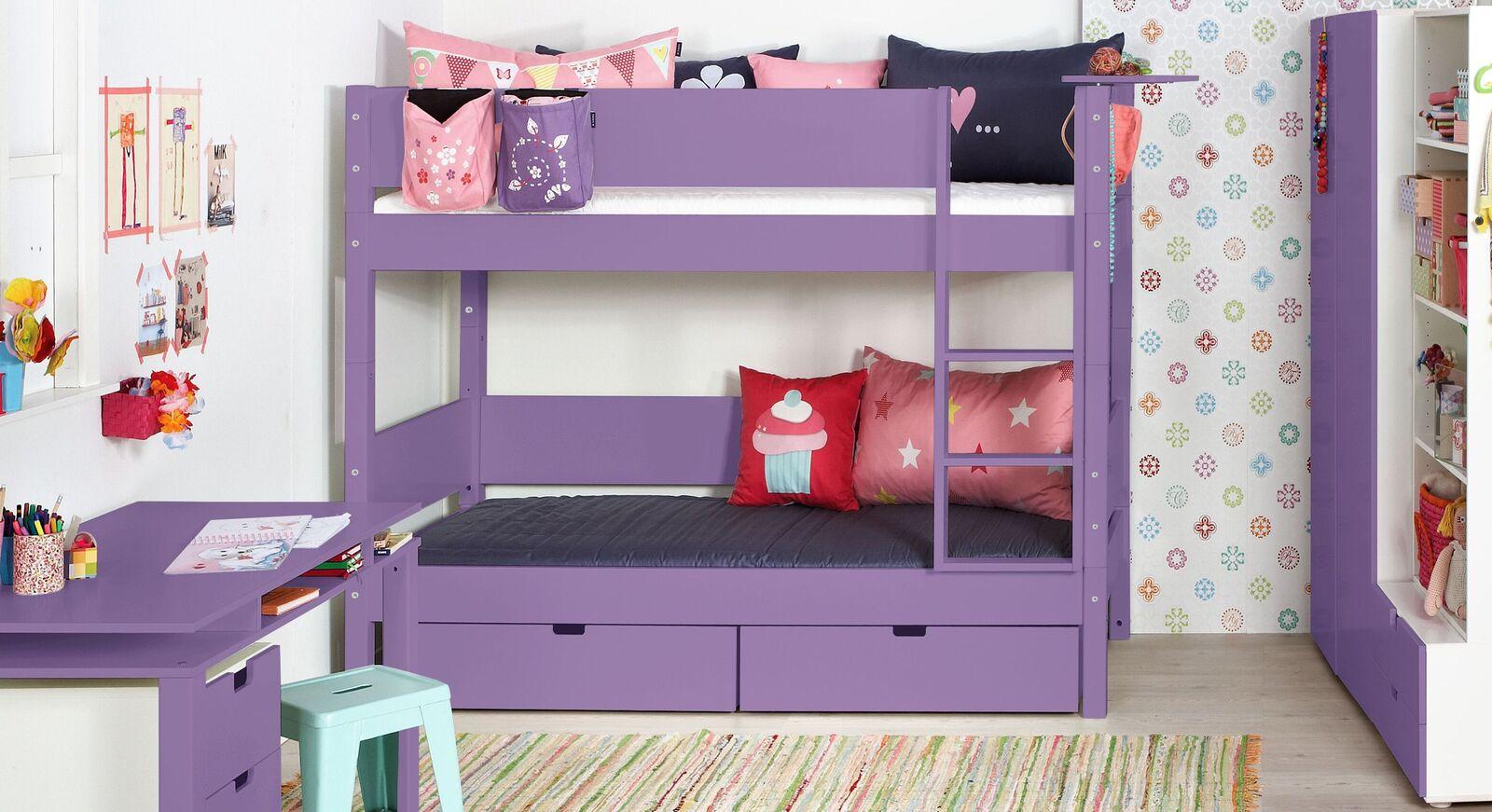 Modernes Etagenbett Kids Town Color in Violett mit Absturzsicherung