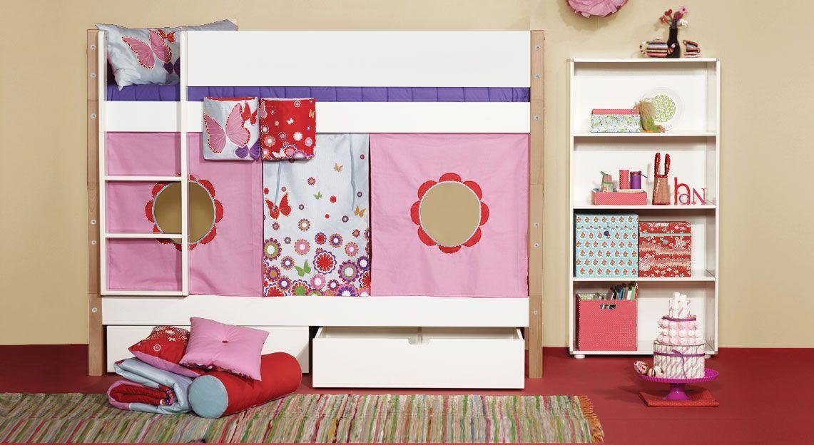 Modernes Etagenbett Kids Town mit Spielvorhang