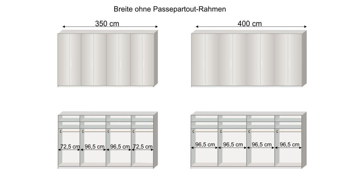 Grafik zur Inneneinteilung des Falttüren-Kleiderschranks Westville mit 350 und 400 cm Breite