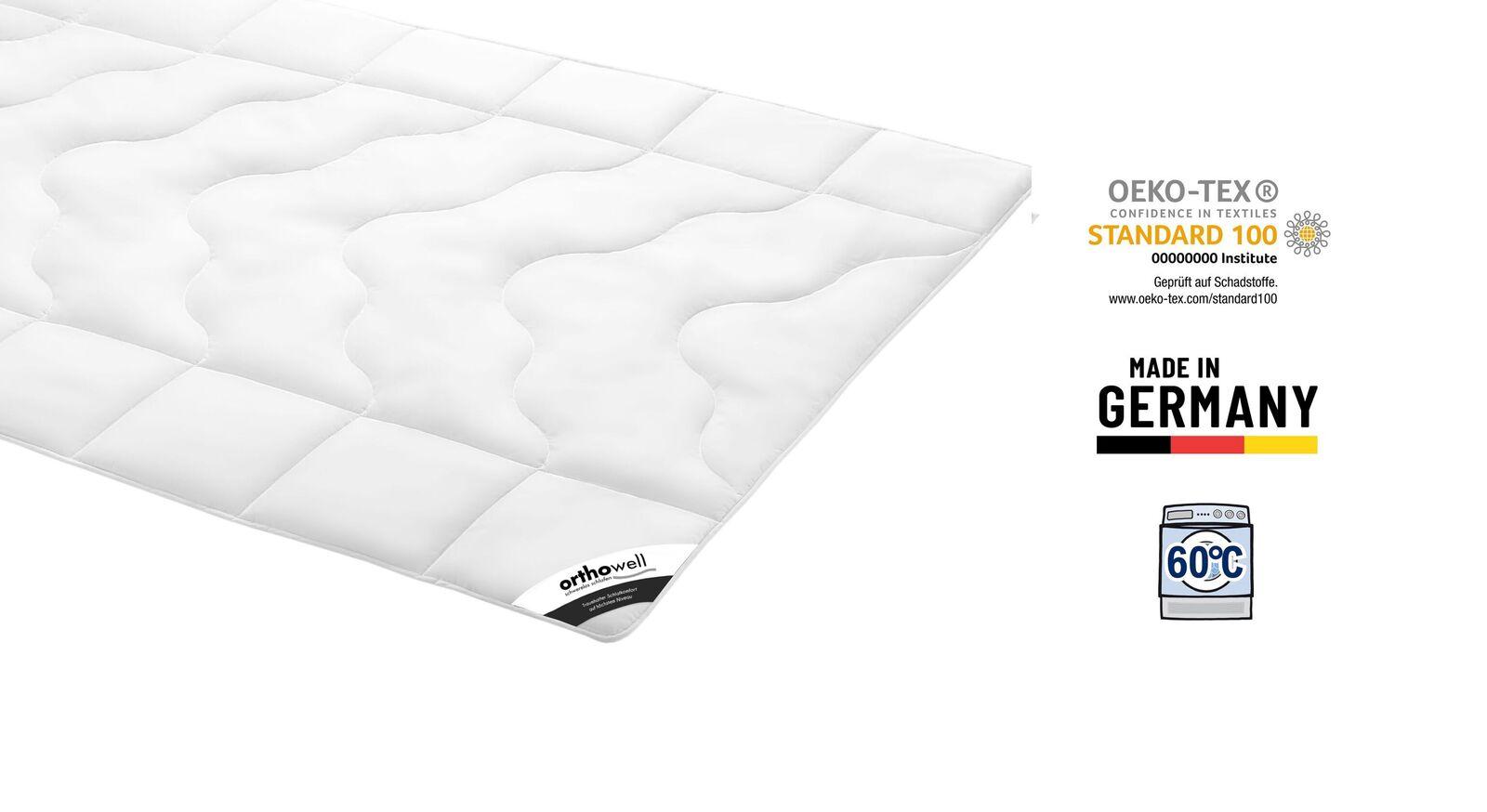 Zertifizierte Faser-Bettdecke orthowell Standard warm