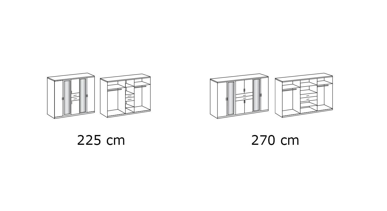 Funktions-Kleiderschrank Belcastro mit Grafik zur Inneneinteilung