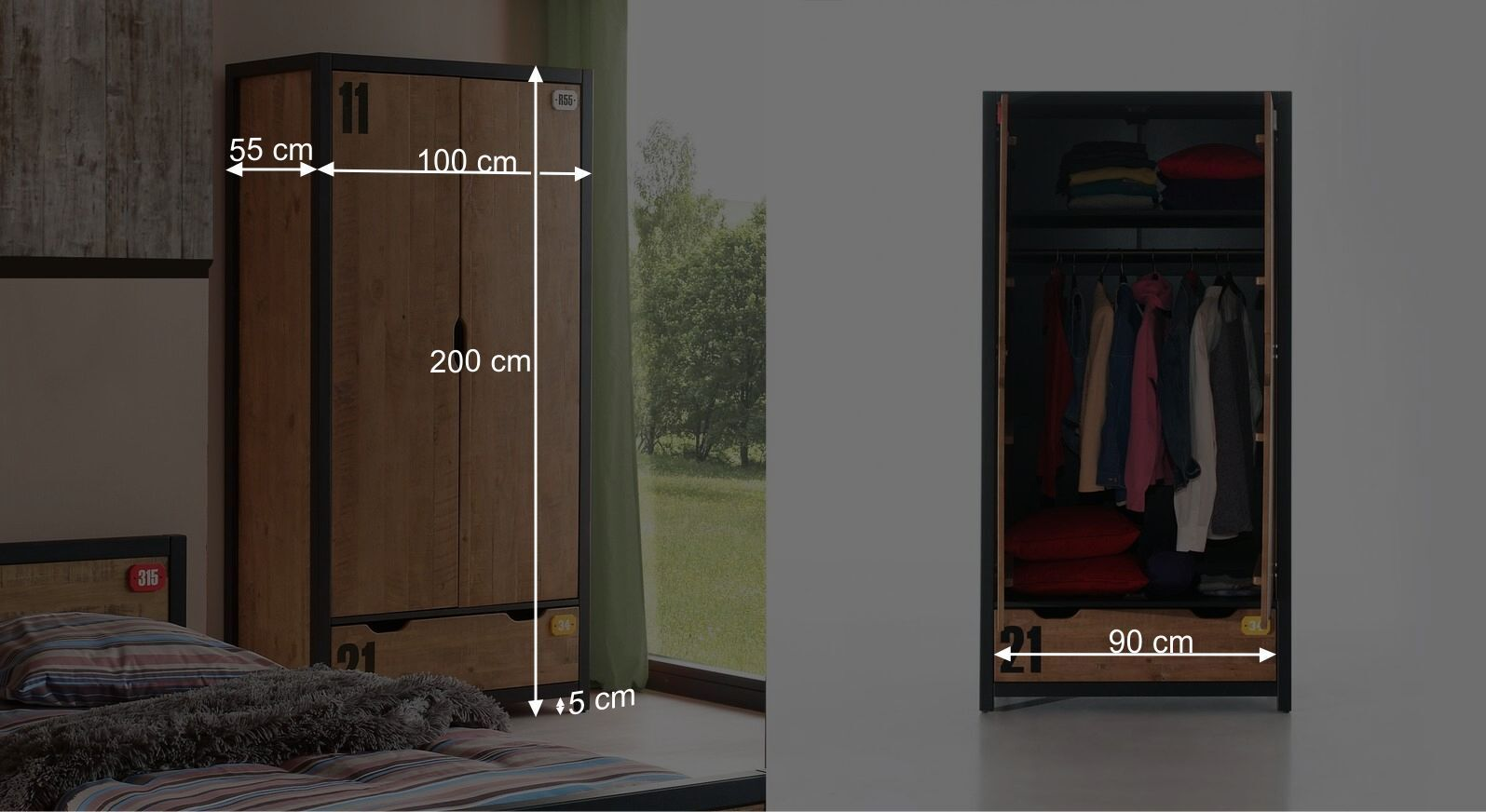 Bemaßungsgrafik zum Funktions Kleiderschrank Beli zweitürig