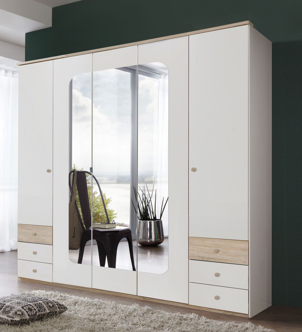 wei er schrank im retrolook mit spiegel und schubladen. Black Bedroom Furniture Sets. Home Design Ideas