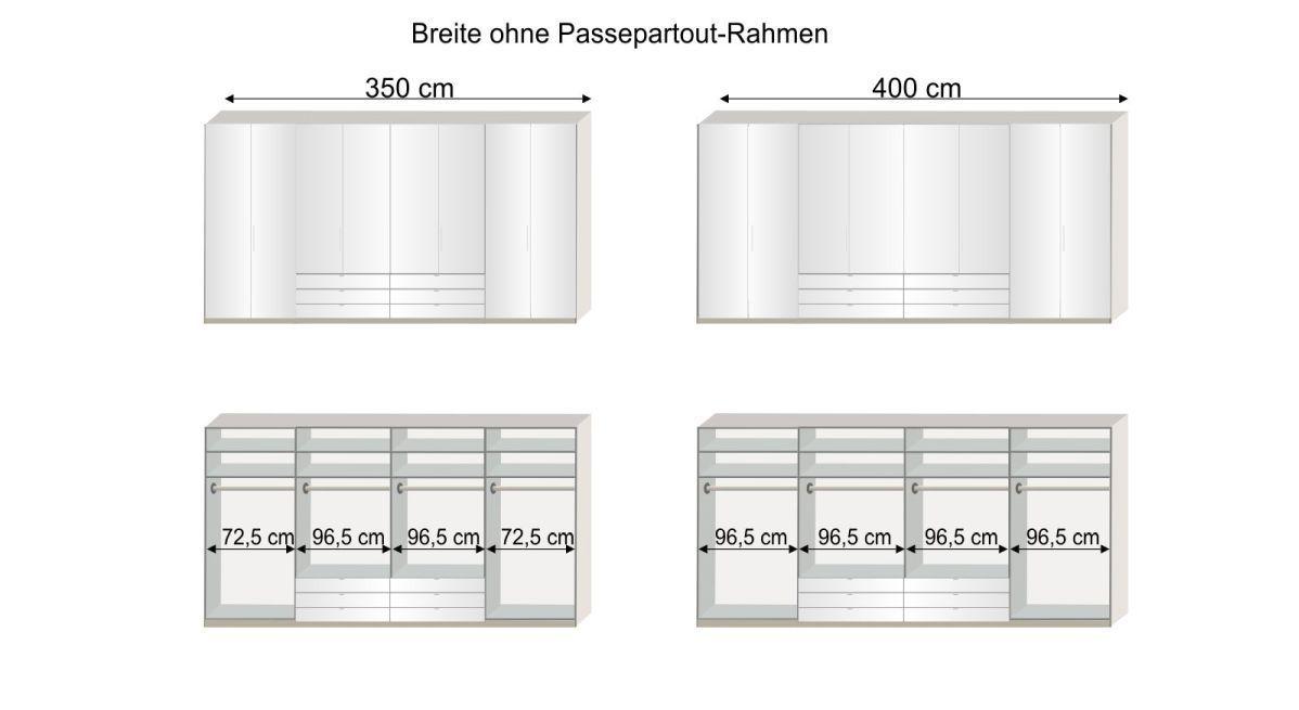 Grafik zur Inneneinteilung des 300 - 400 cm breiten Funktions-Kleiderschranks Elmira