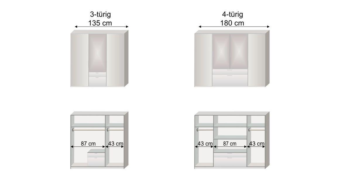 Grafik zur Inneneinteilung des 3- und 4-türigen Funktions-Kleiderschranks Esperia mit Spiegel