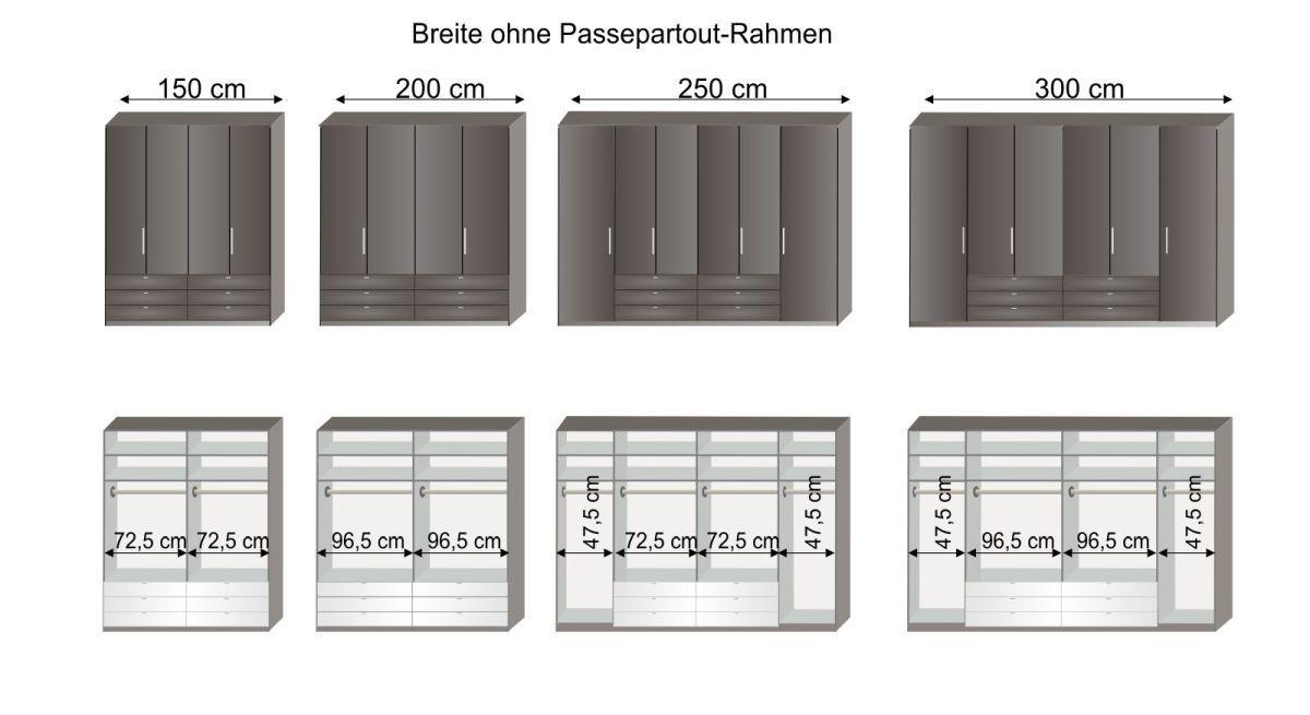 Grafik zur Inneneinteilung des Funktions-Kleiderschranks Harrow in den Breiten 150 cm bis 300 cm