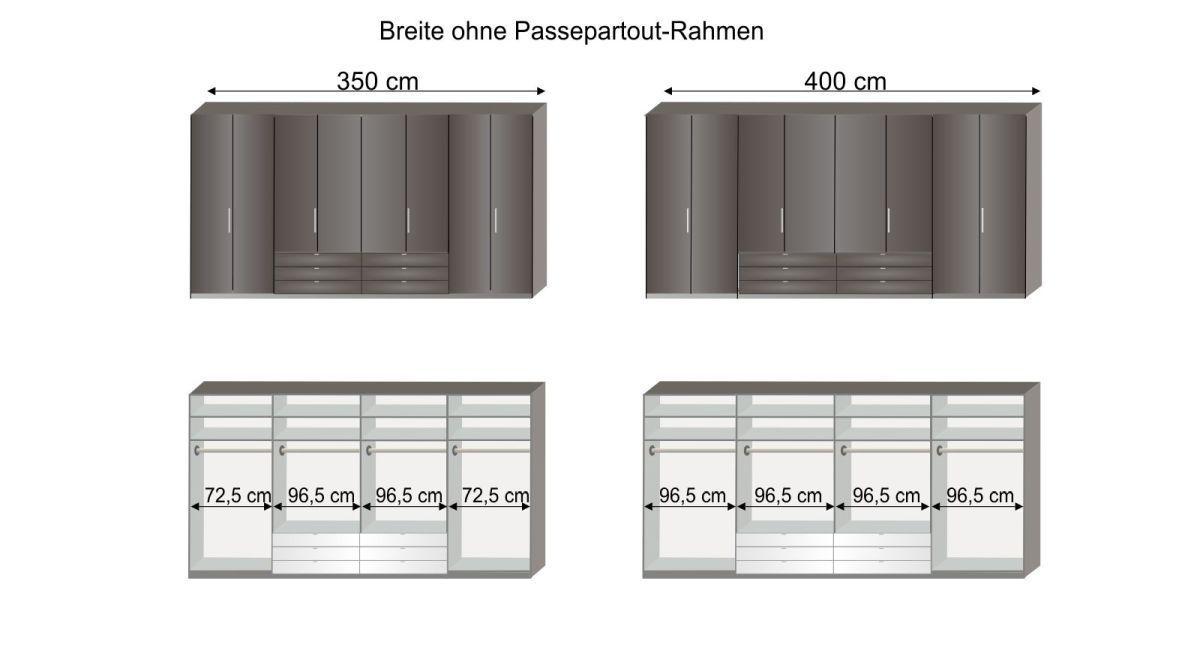 Grafik zur Inneneinteilung des Funktions-Kleiderschranks Harrow 300 cm und 400 cm Breite