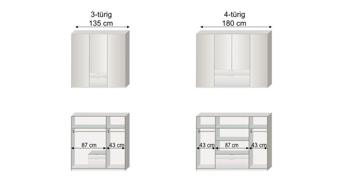 Grafik zur Inneneinteilung des 3- und 4-türigen Funktions-Kleiderschranks