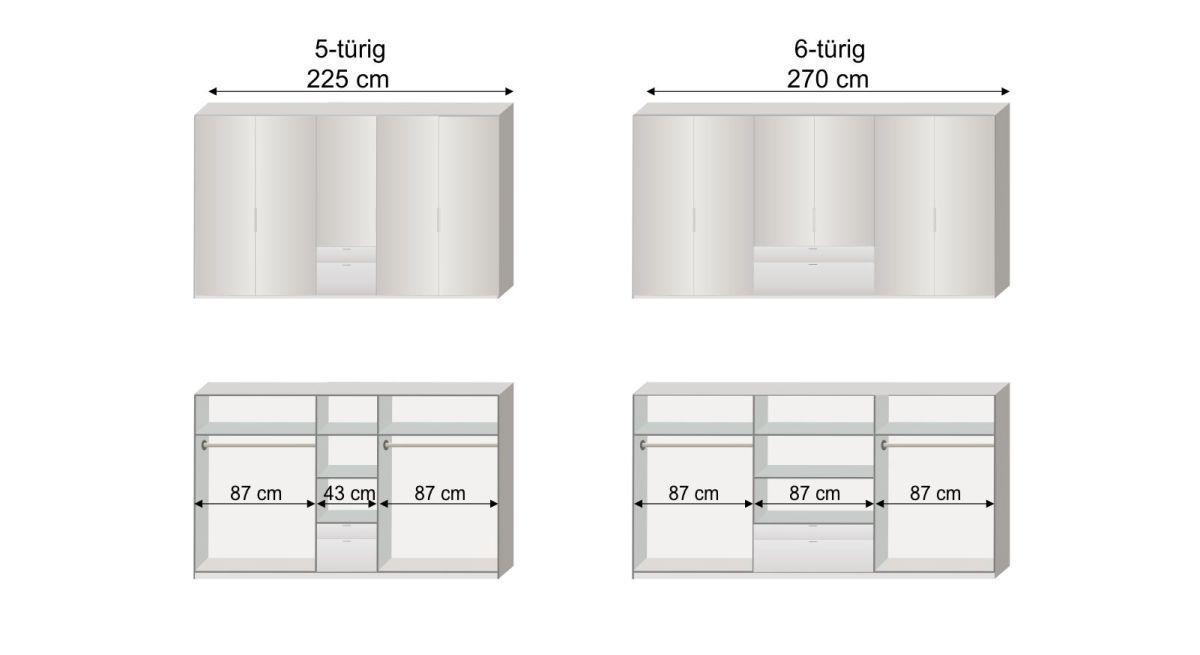 Grafik zur Inneneinteilung des 5- und 6-türigen Funktions-Kleiderschranks