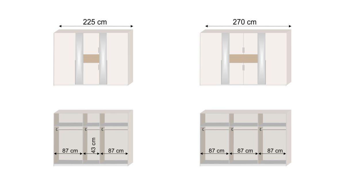 Bemaßungs-Skizze zur Inneneinteilung des Funktions-Kleiderschranks Kormoran