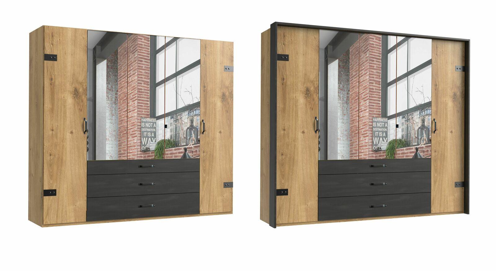 5-türiger Funktions-Kleiderschrank Mancos mit Spiegel