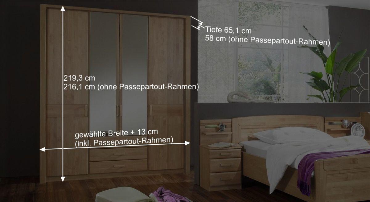 Bemaßungsgrafik vom Funktions-Kleiderschrank Sanando mit Passepartoutrahmen