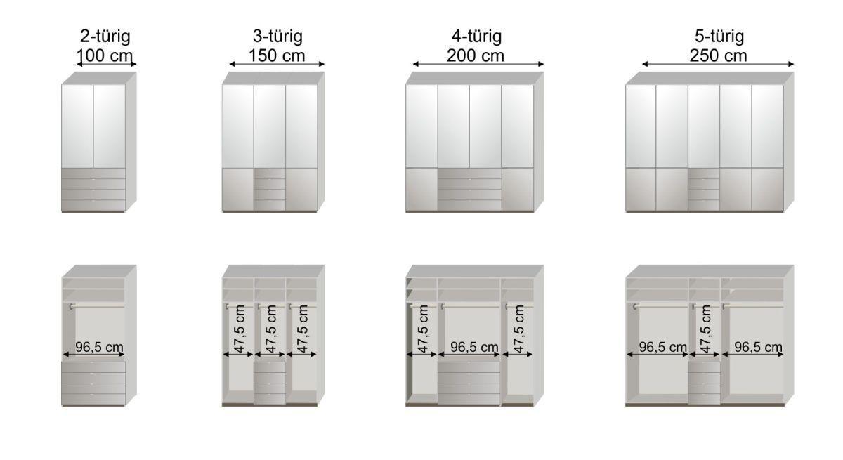 Maßgrafik zur 1. Inneneinteilung des Funktionskleiderschranks Shanvalley