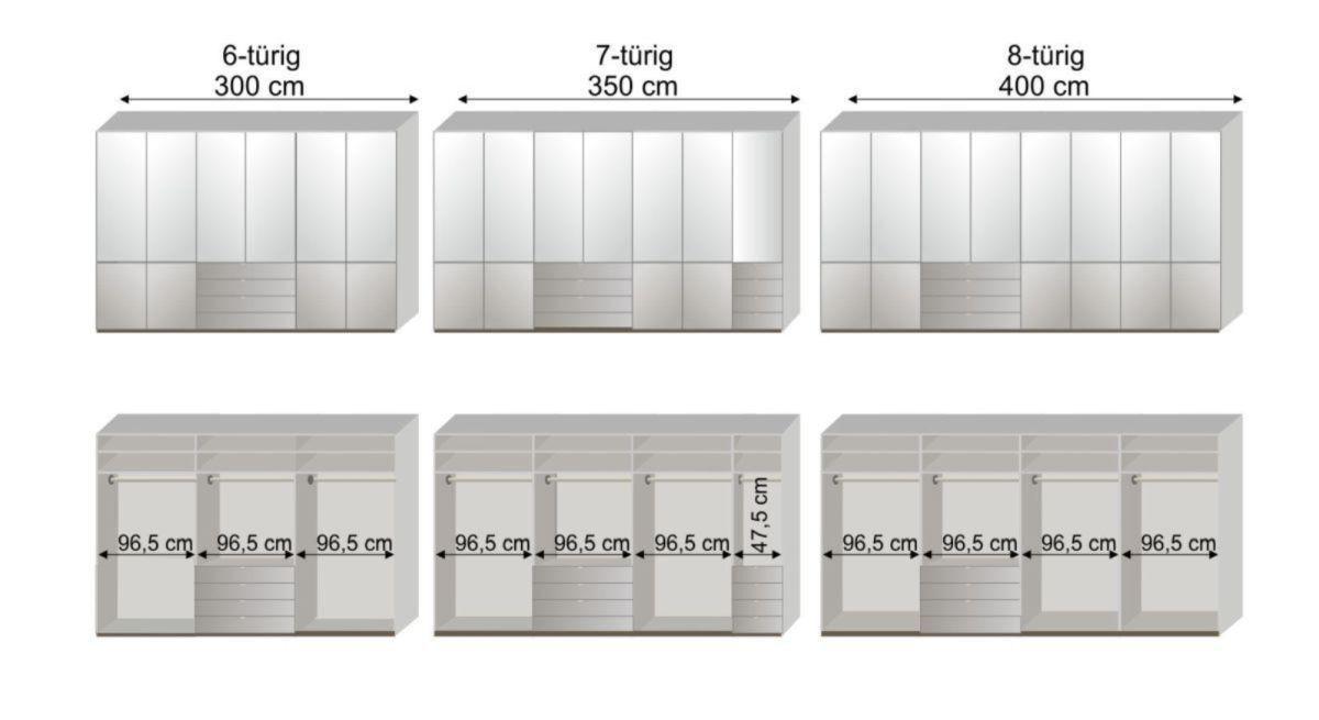 Maßgrafik zur 2. Inneneinteilung des Funktionskleiderschranks Shanvalley