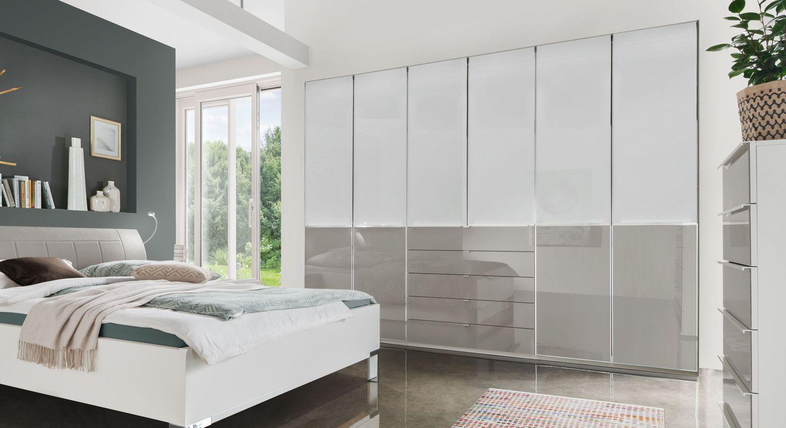 Funktions-Kleiderschrank Shanvalley in Weiß und Kieselgrau