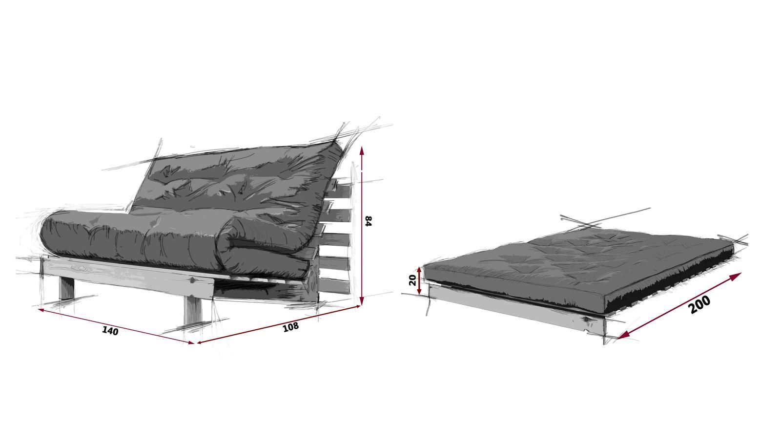 Maßgrafik des Futonsofas Campoli mit 140 cm