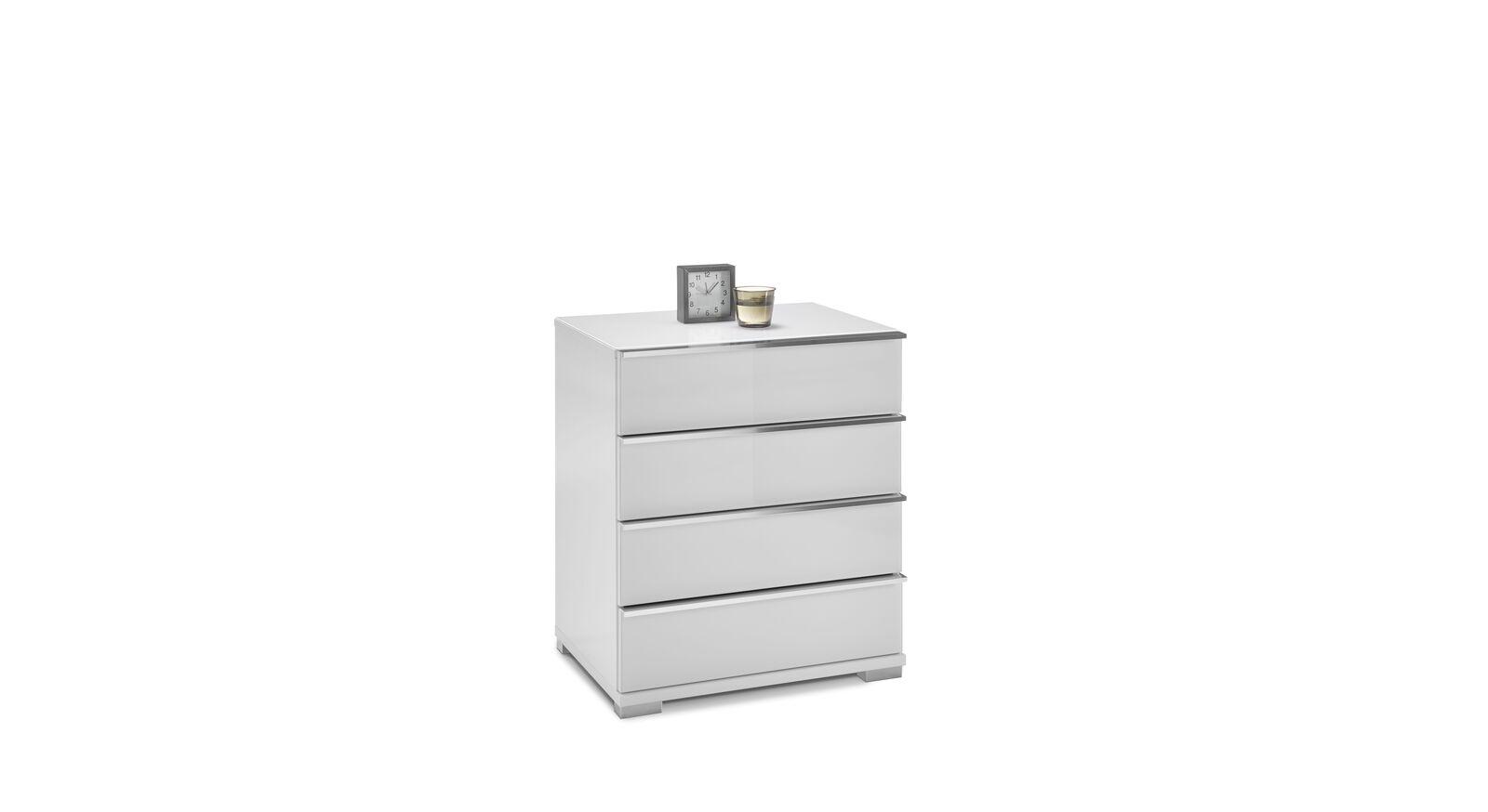 Schmale GALLERY M Kommode IMOLA W in Weiß mit 4 Schubladen