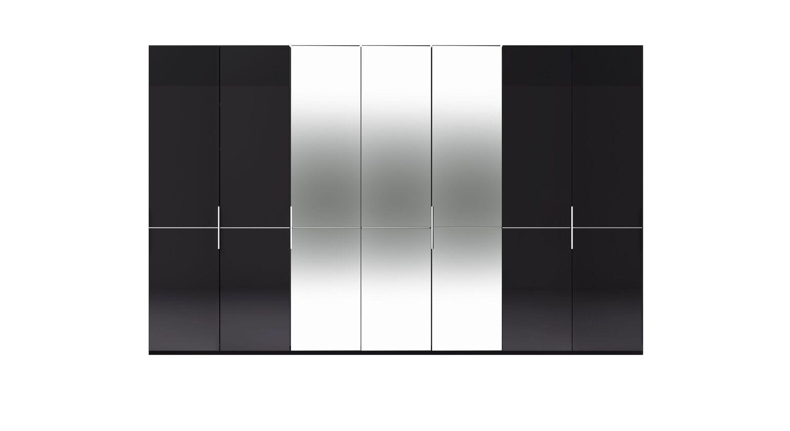 7-türiger GALLERY M Spiegel-Drehtüren-Kleiderschrank IMOLA W Graphit ohne Spiegel