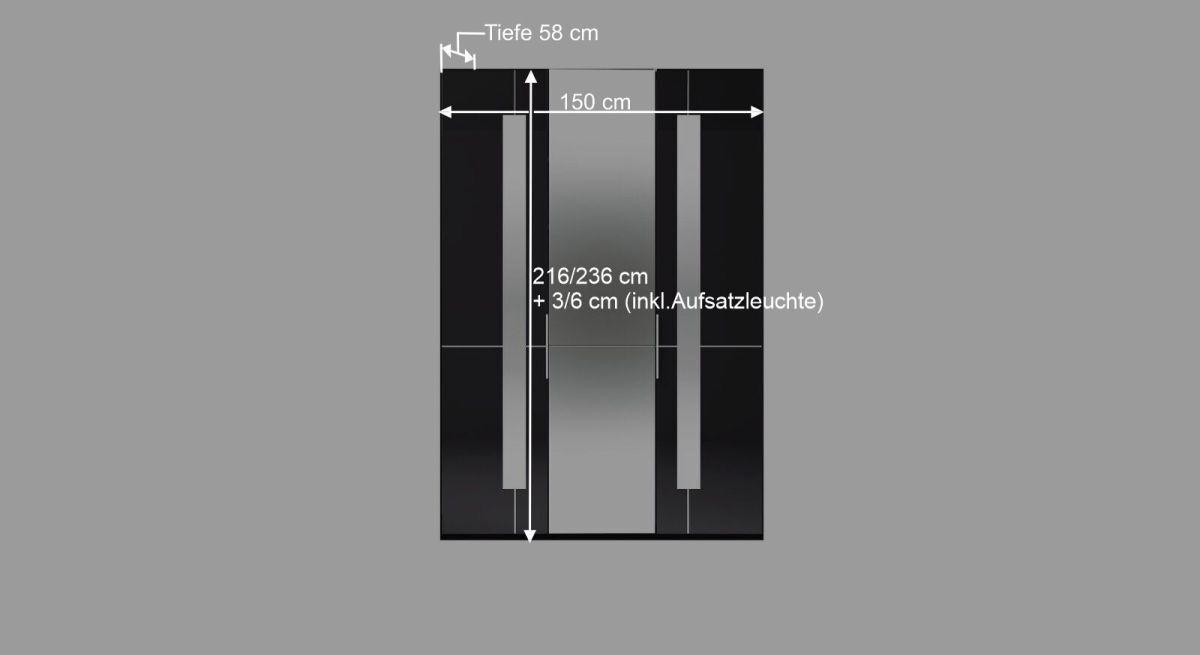 Bemaßungsgrafik zum Spiegel Kleiderschrank Imola
