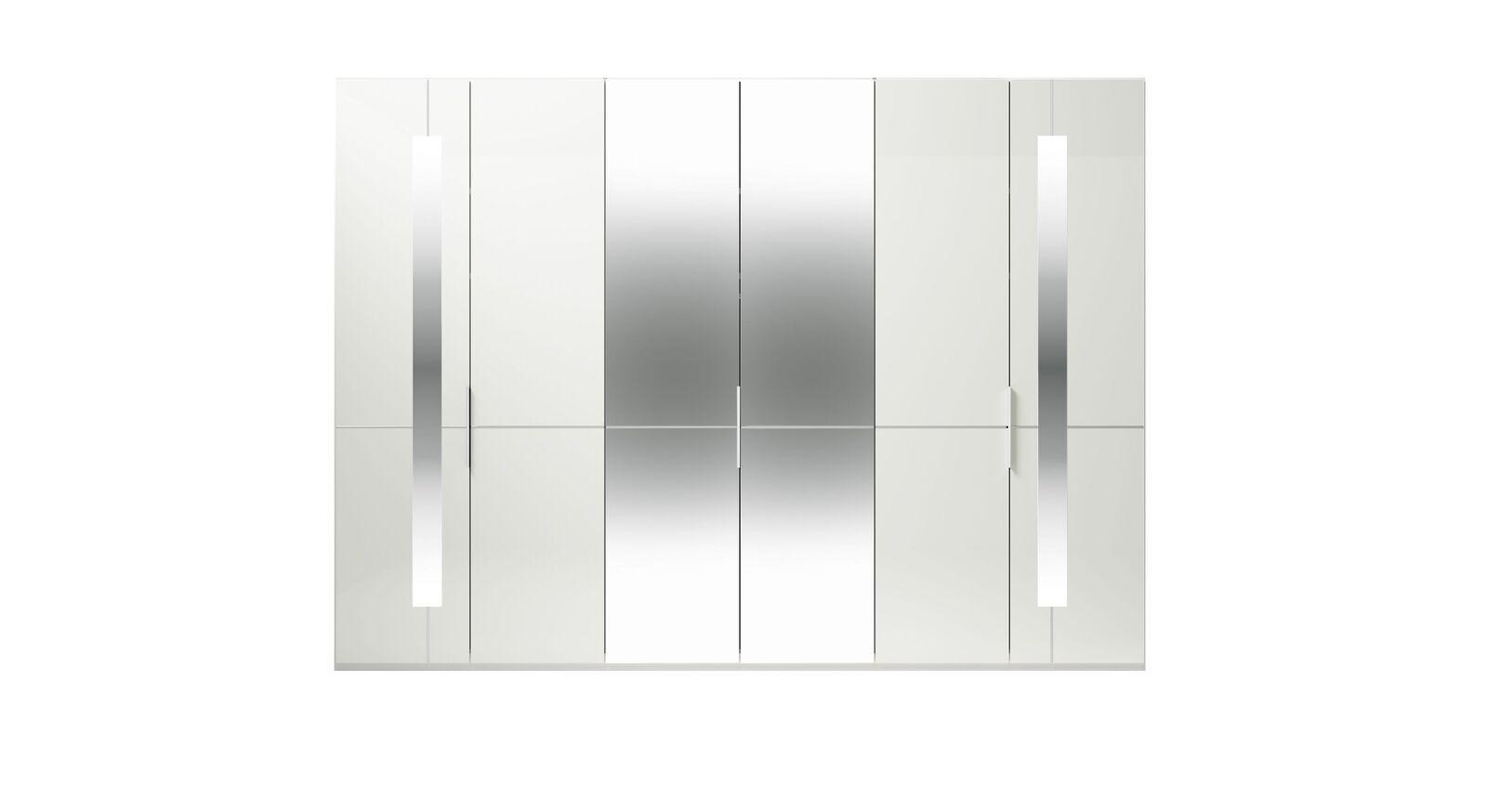 6-türiger GALLERY M Spiegel-Drehtüren-Kleiderschrank IMOLA W in Weiß