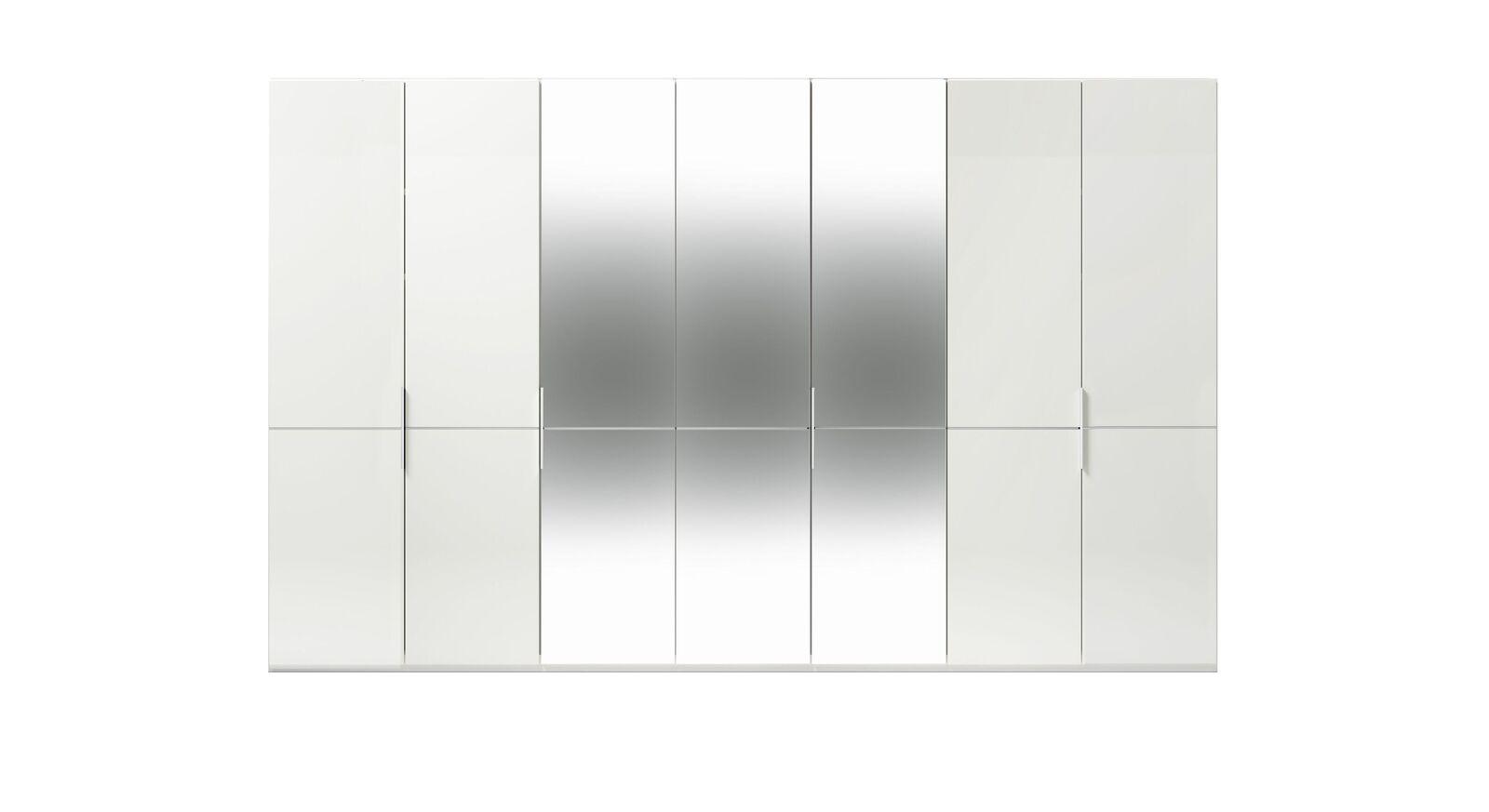 7-türiger GALLERY M Spiegel-Drehtüren-Kleiderschrank IMOLA W Weiß ohne Spiegel