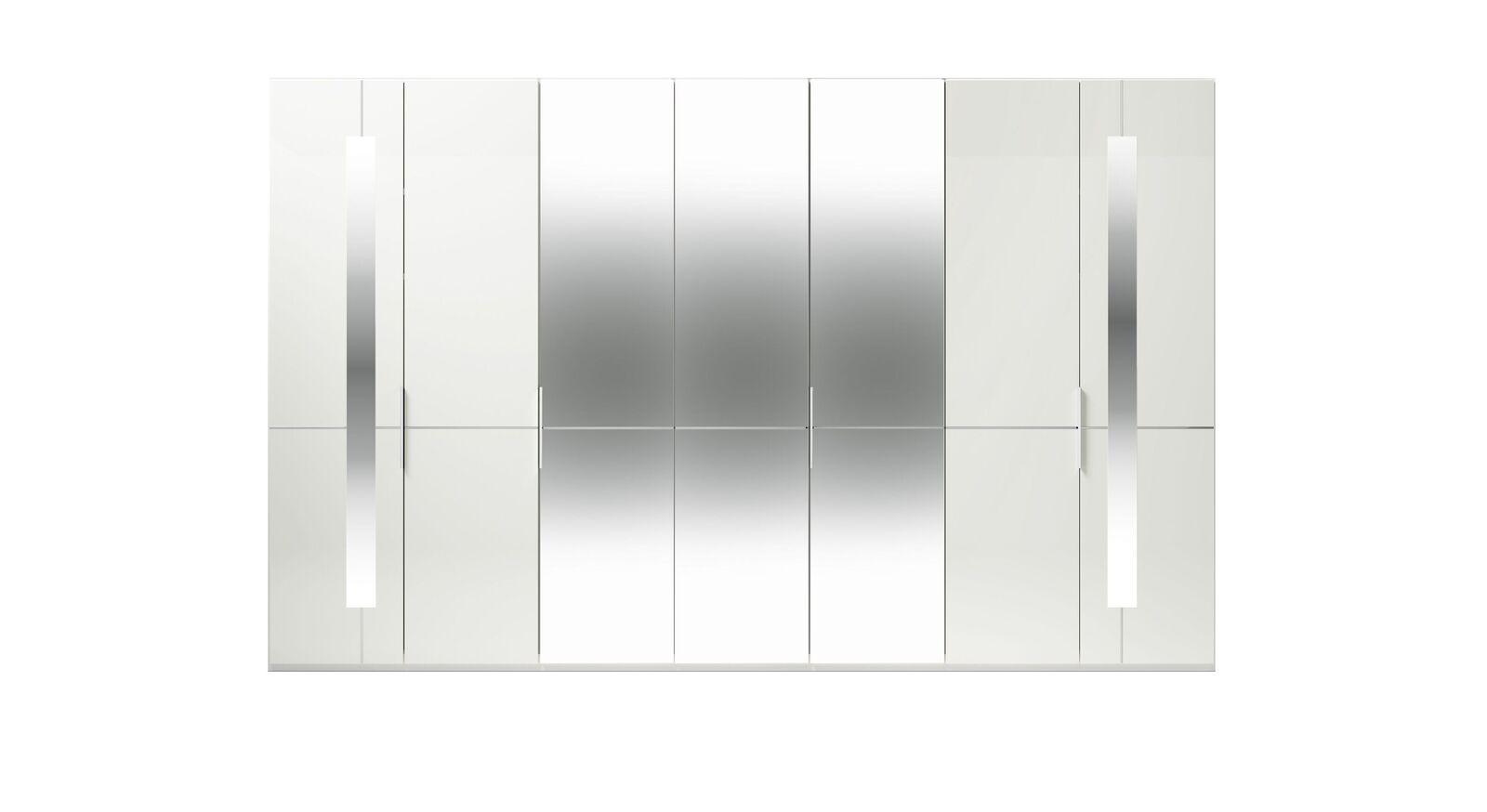 7-türiger GALLERY M Spiegel-Drehtüren-Kleiderschrank IMOLA W in Weiß