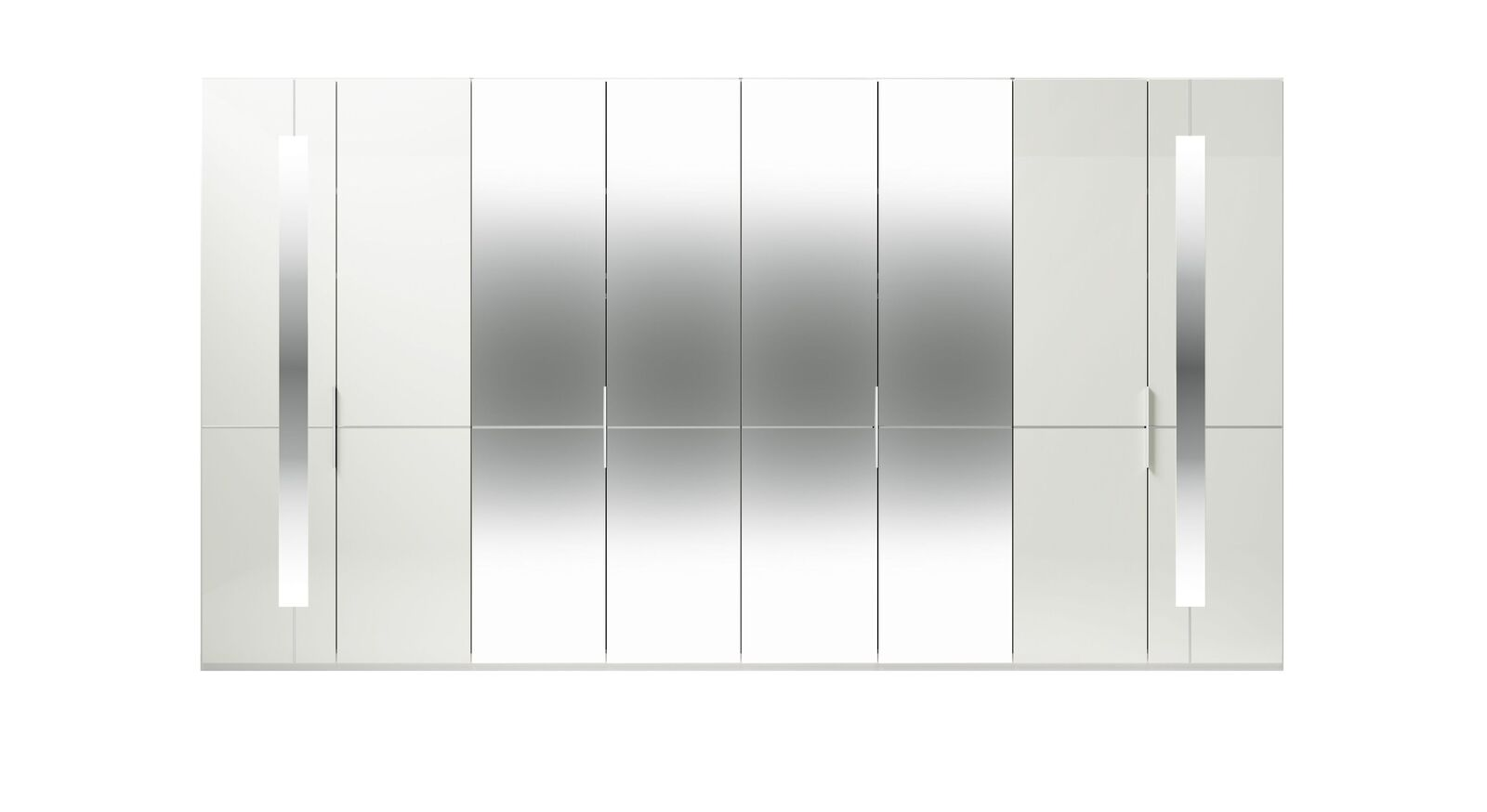 8-türiger GALLERY M Spiegel-Drehtüren-Kleiderschrank IMOLA W in Weiß