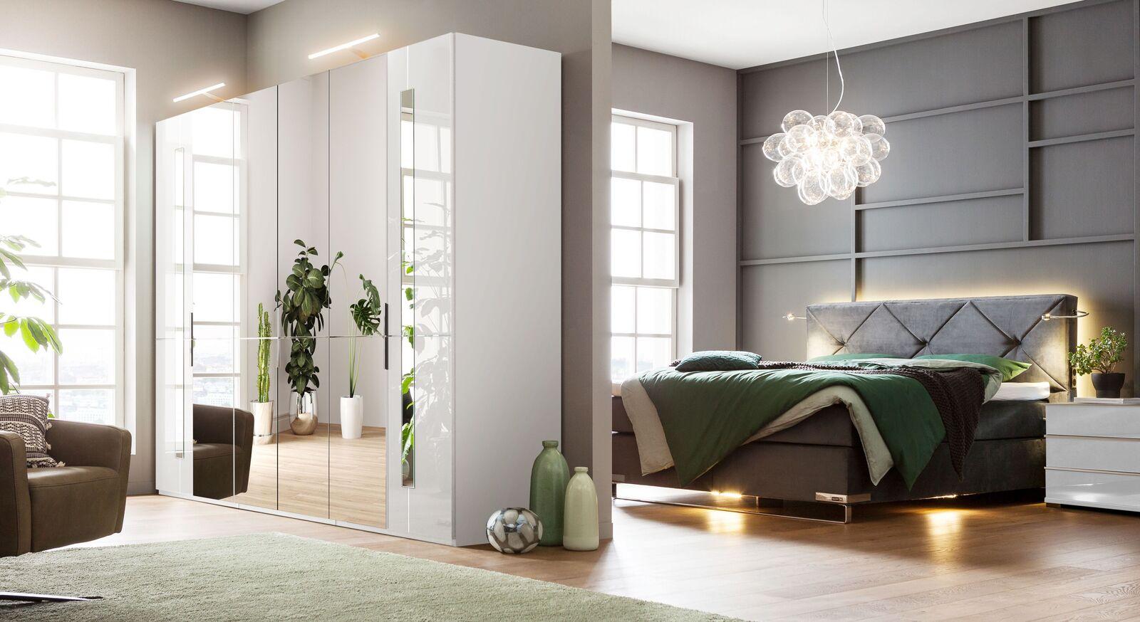 Klassischer GALLERY M Spiegel-Drehtüren-Kleiderschrank IMOLA W in Weiß