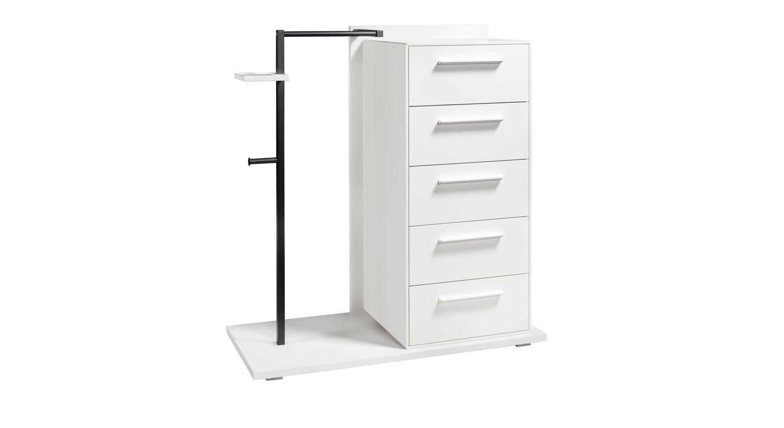 Garderoben-Kommode Cilona mit anthrazitfarbener Metallstange und weißen Platten