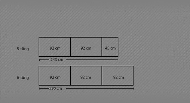 Grafik zur Breitenansicht des Drehtüren-Kleiderschranks Triest