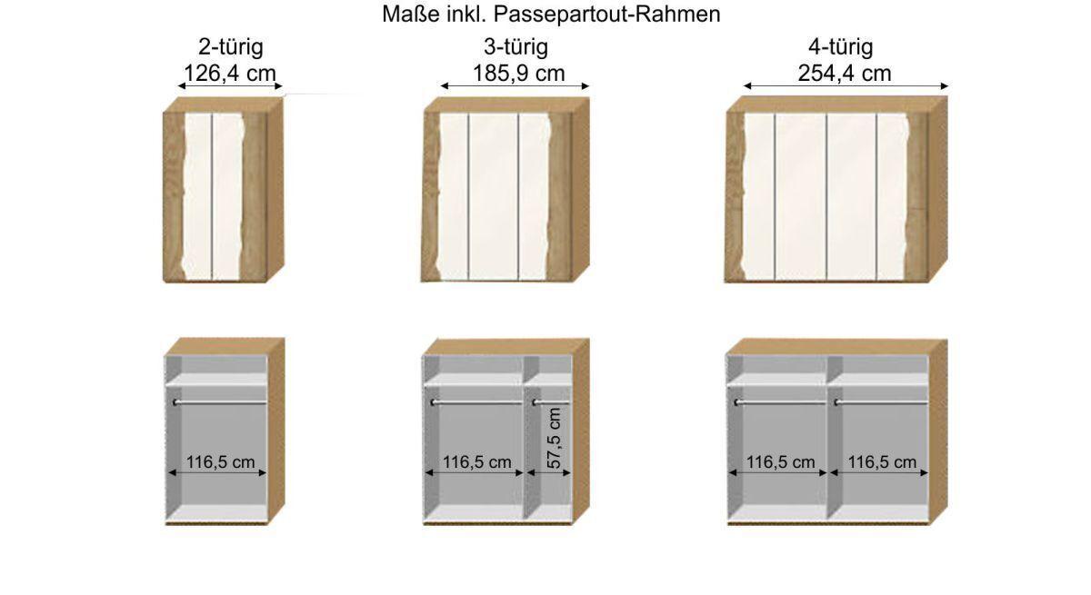 Grafik zur Inneneinteilung vom Drehtüren-Kleiderschrank Imst