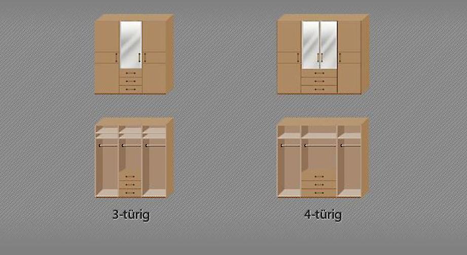 Grafik zur Inneneinteilung des Funktions-Kleiderschranks Sanando