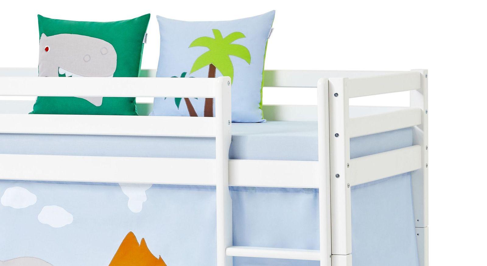 halbhohes bett aus wei em massivholz mit rutsche dinosaurier. Black Bedroom Furniture Sets. Home Design Ideas