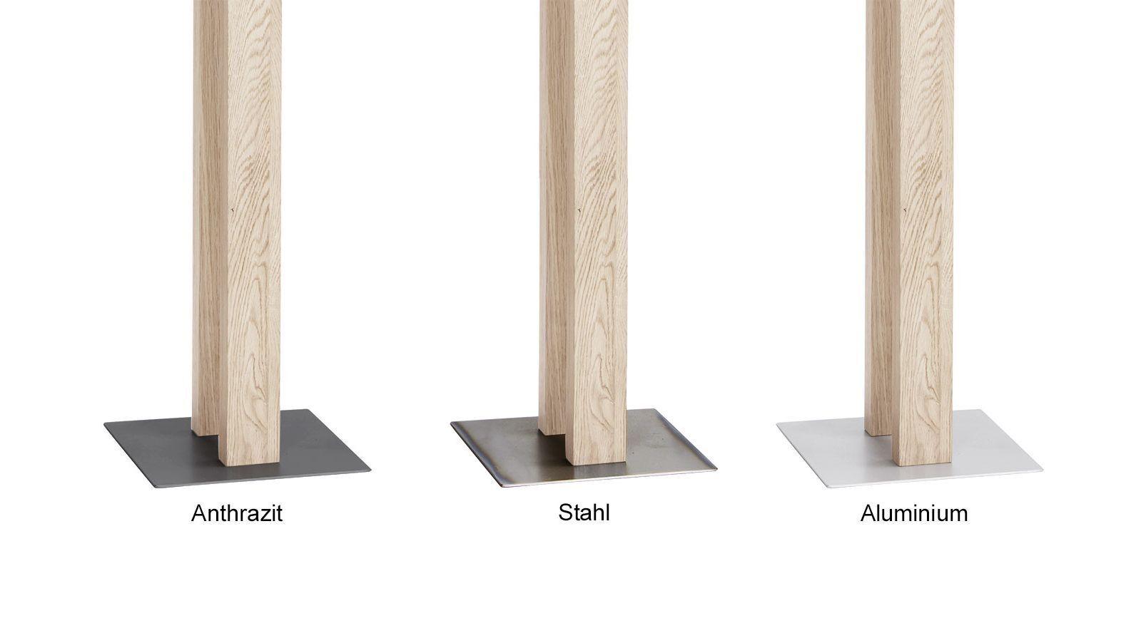 Ansicht der verschiedenen Fußplatten zum Herrendiener