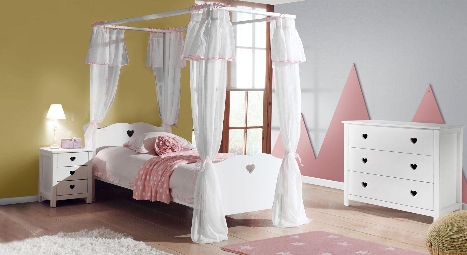 Himmelbett Asami mit weißem Vorhang