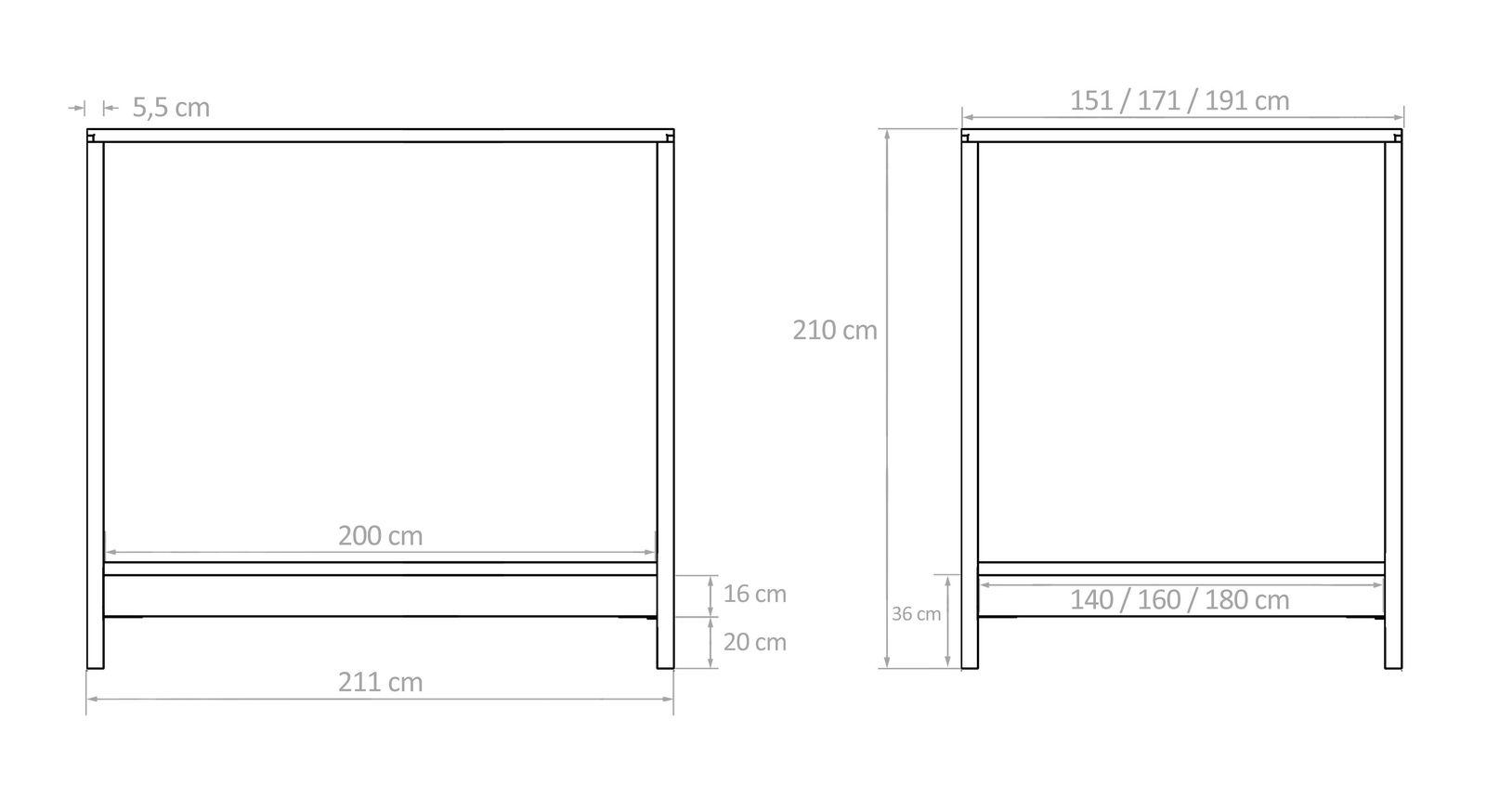 himmelbett aus holz massiv in 140x200 cm bett almeria. Black Bedroom Furniture Sets. Home Design Ideas