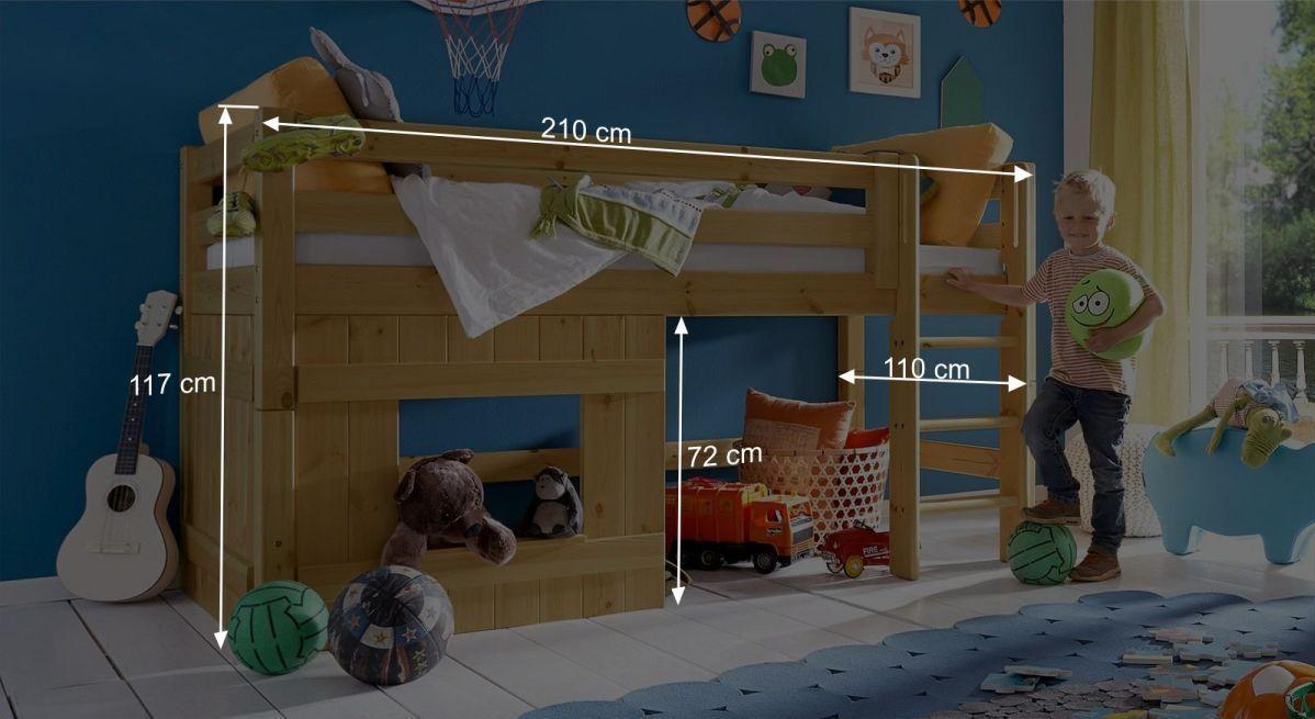 Bemaßungsgrafik zum Hütten-Hochbett Kids Paradise für Jungen