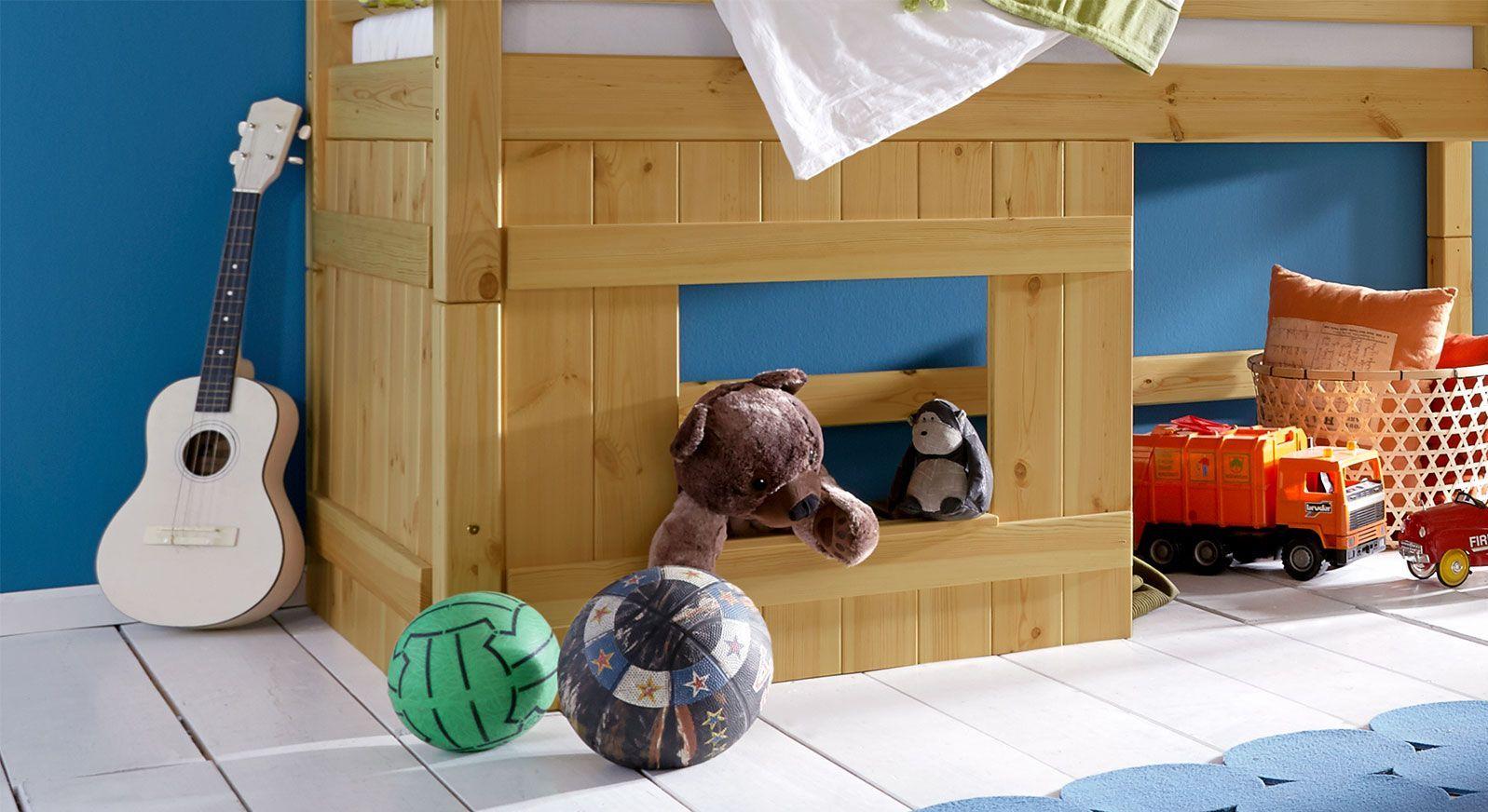 Hütten-Hochbett Kids Paradise für Jungen inklusive Holzverkleidung